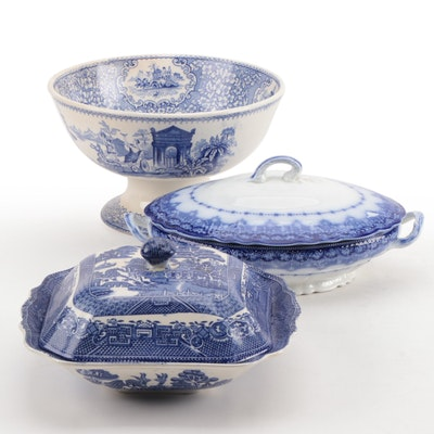 Centerpiece Bowl and Covered Vegetable Bowls, Late 19th/Early 20th Century