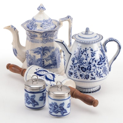 Blue Transferware Ceramic Teapots with Egg Coddlers and Rolling Pin