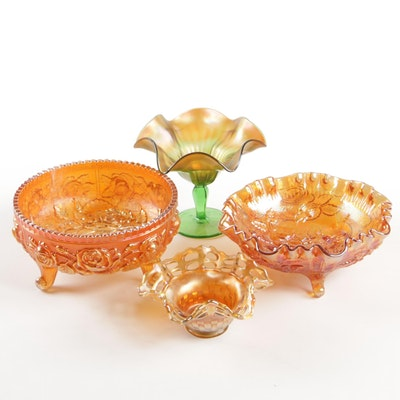 Imperial, Fenton and Northwood Carnival Glass Bowls and Compote