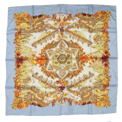 "Hermès Paris ""Au Pays de Cocagne"" Silk Scarf Designed by Zoé Pauwels"