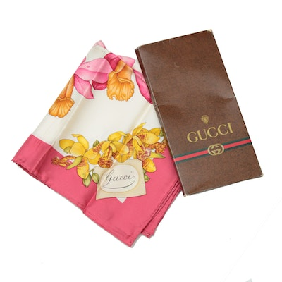 Gucci Floral Patterned Silk Scarf