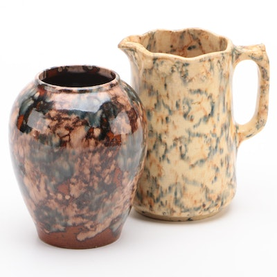 Glazed Ceramic Vase and Creamer, Mid to Late 20th Century