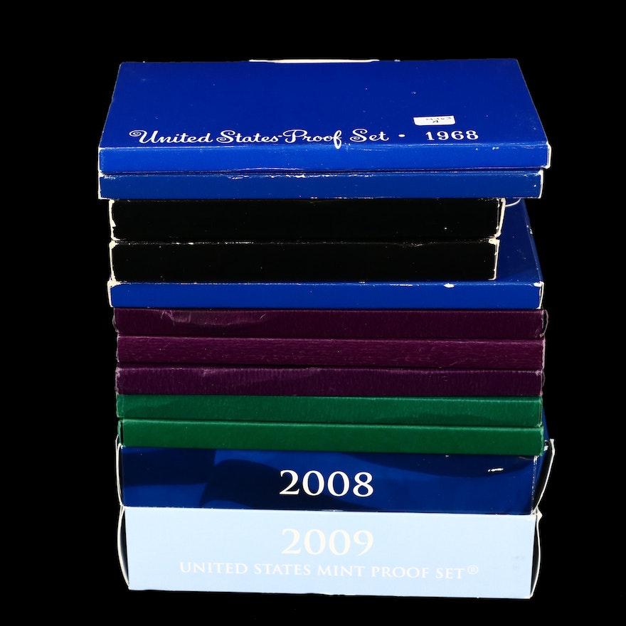 Twelve U.S. Mint Proof Sets, 1968 to 2009