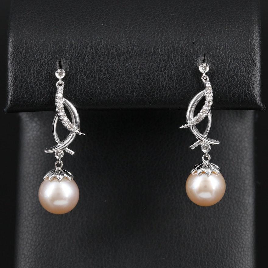 14K Gold Pearl and Diamond Earrings