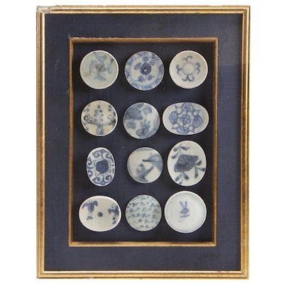 Framed East Asian Blue and White Porcelain Lids and Fragments
