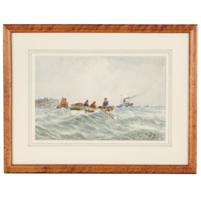 E. Adams Nautical Watercolor Painting