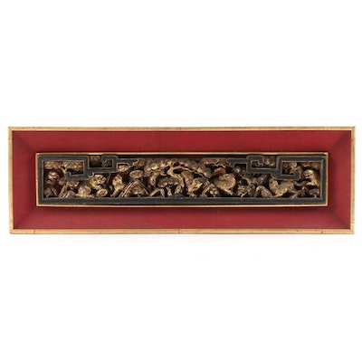 East Asian Carved Gilt Wood Panel