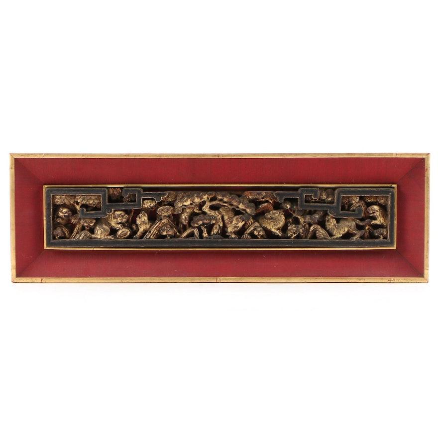 East Asian Carved Gilt Wood Panel