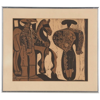 "Linoleum Cut after Pablo Picasso ""Picador and Bullfighter"""