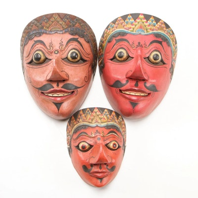 Indonesian Polychrome Carved Wood Masks