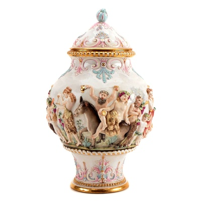 Decorative Bas Relief Ceramic Lidded Urn with Bacchanal Motif