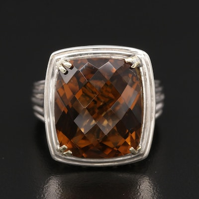 Charles Krypell Sterling Silver Smoky Quartz Ring and 14K Accents