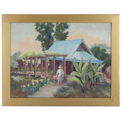 Mary Mirabito Oil Painting of Woman on Garden Path