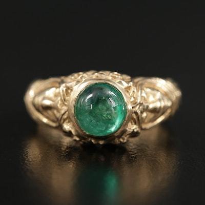 14K Yellow Gold Emerald Ring Featuring Figural Design