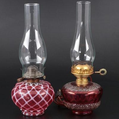 Victorian Glass Converted and Standard Kerosene Lamps