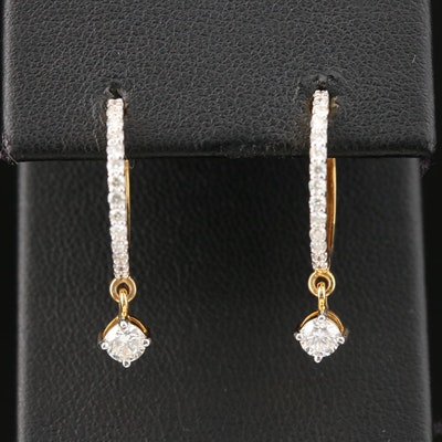18K Diamond Hoops with Dangling Accents