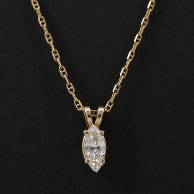 14K 0.46 CT Diamond Solitaire Pendant Necklace