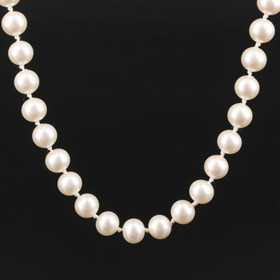 Single Strand Imitation Pearl Necklace