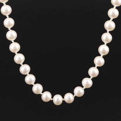 Single Strand Imitation Pearl Necklace