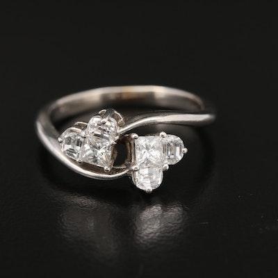 18K White Gold Diamond 1.08 CTW Heart Bypass Ring