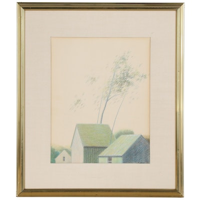 Robert Kipniss Landscape Pastel Drawing, Mid to Late 20th Century