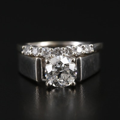 14K White Gold 1.46 CTW Diamond Ring and Band
