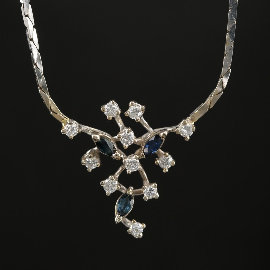 18K White Gold Diamond and Sapphire Stationary Pendant Necklace