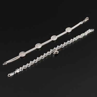 Sterling Silver Fancy Link and Foxtail Station Bracelets
