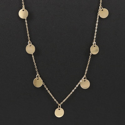 14K Yellow Gold Cable Chain Station Necklace