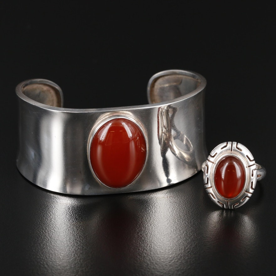 Mexican Sterling Silver Carnelian Ring and Cuff