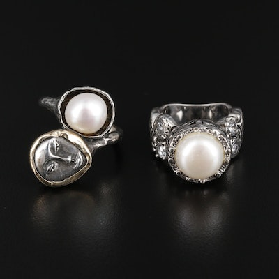 Sterling Silver Cultured Pearl and Cubic Zirconia Ring