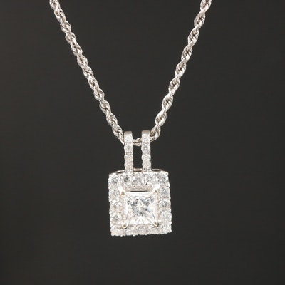 18K White Gold 1.00 CTW Diamond Pendant on 14K Rope Chain