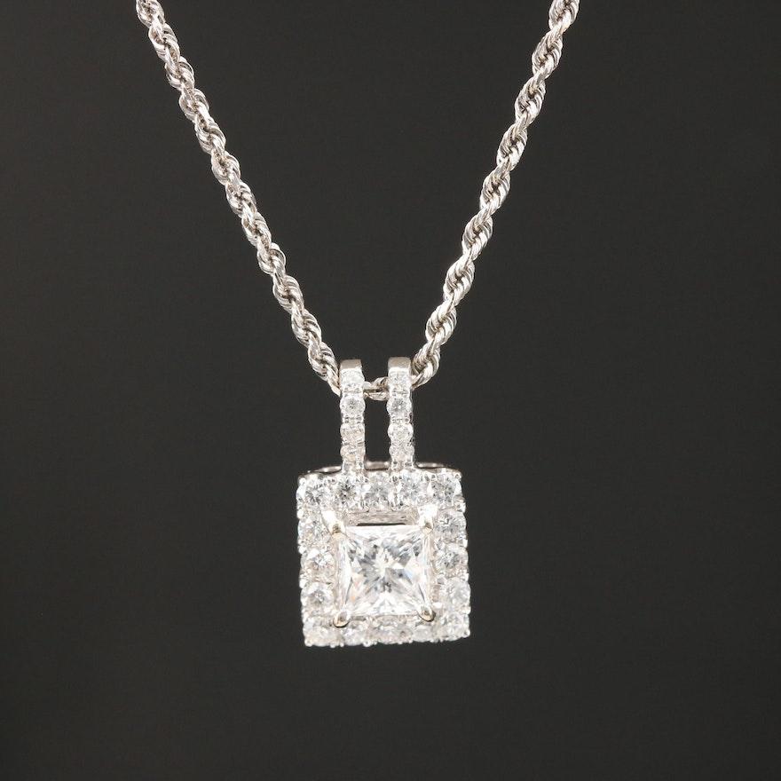 18K White Gold 1.00 CTW Diamond Pendant on 14K Rope Chain