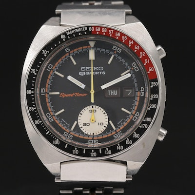 Seiko Speed Timer Chronograph Stainless Steel Automatic Wristwatch, Vintage