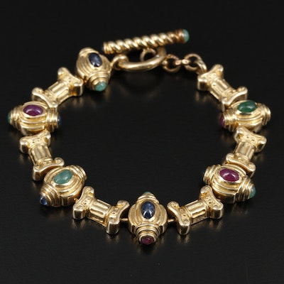Citra 14K Yellow Gold Sapphire, Ruby and Emerald Bracelet