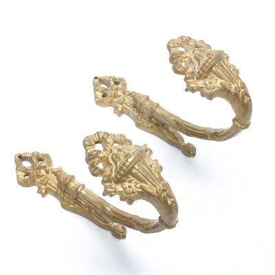 NeoClassical Style Gilt Wall Hooks