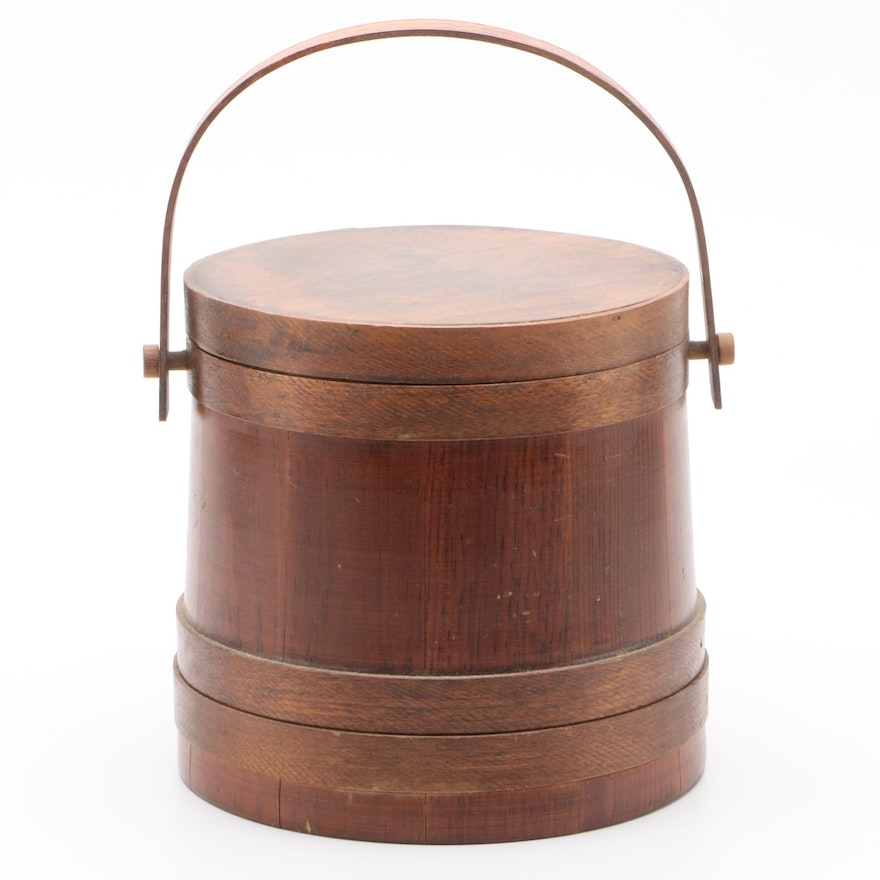 American Wooden Sugar Bucket with Lid, Mid to Late 20th Century
