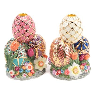 "Christopher Radko ""Faberge Egg"" Ceramic Candle Holders"