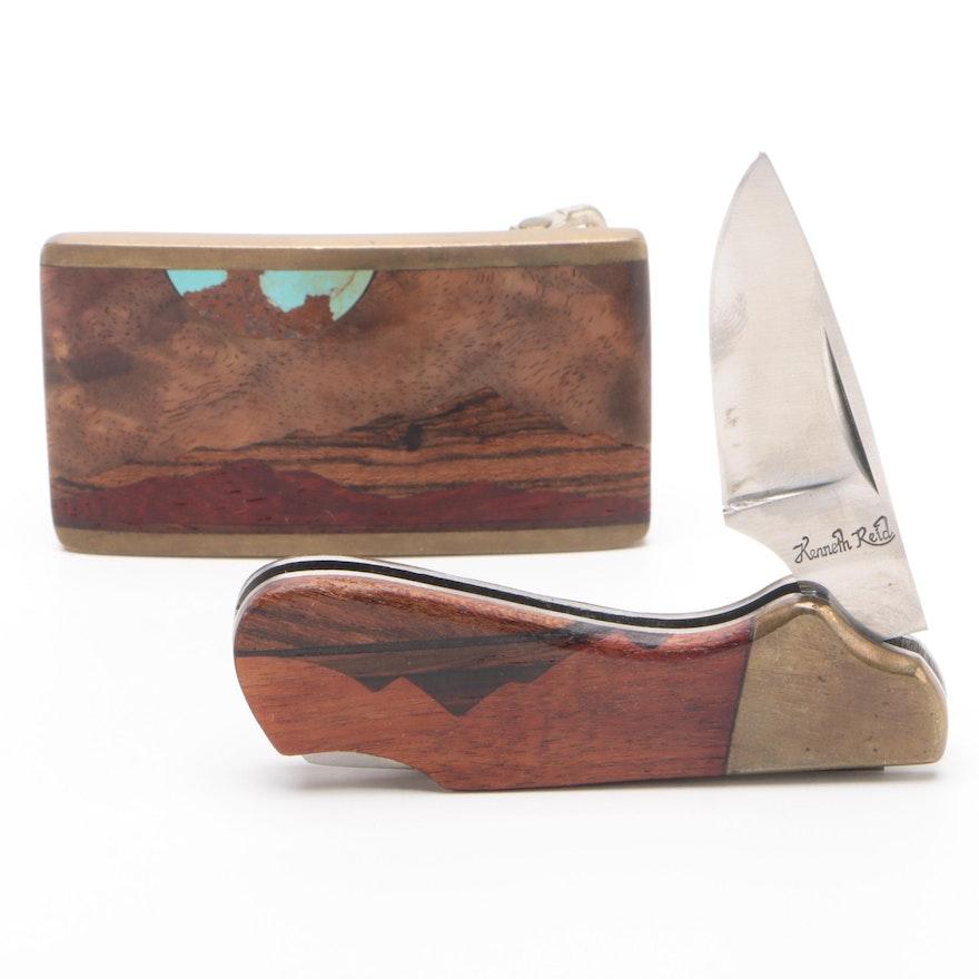 Kenneth Reid Southwestern Inlaid Wood Belt Buckle with Pocket Knife, Mid-20th C.