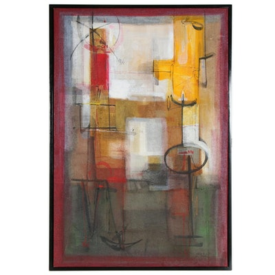 "Antonio Carreño Monumental Mixed Media Painting ""Red Dawn"", 2002"