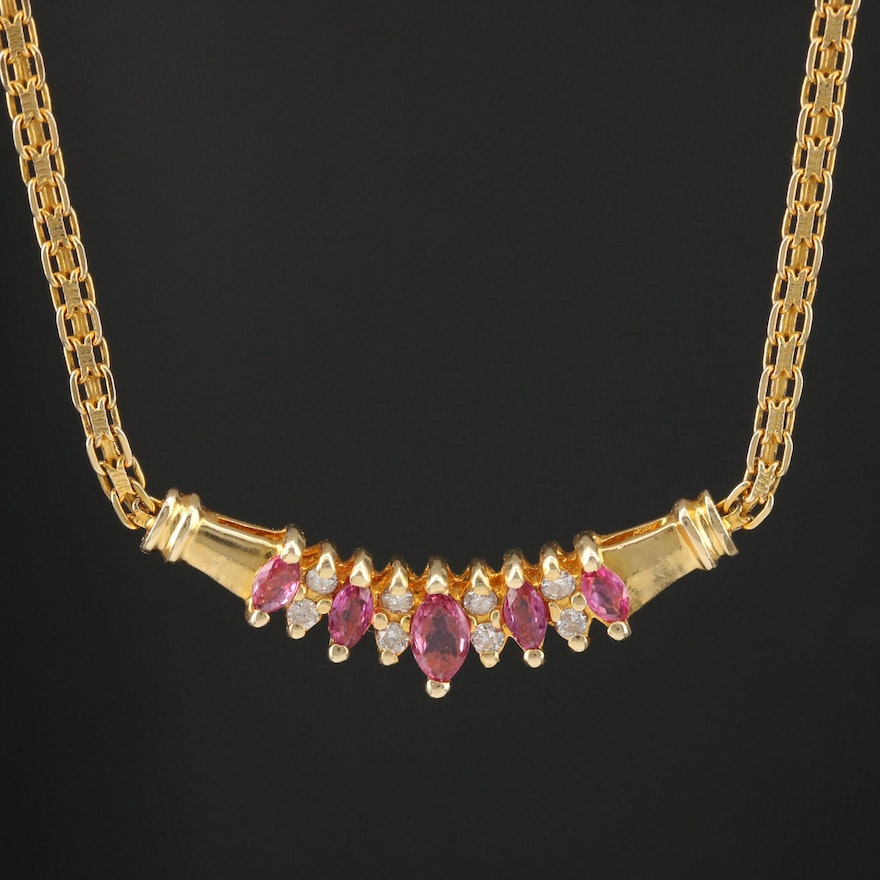 14K Yellow Gold Ruby and Diamond Bismark Link Necklace