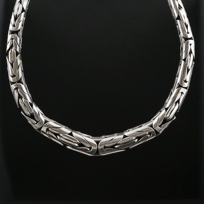Sterling Silver Byzantine Style Chain Necklace