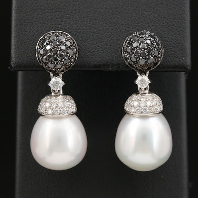 18K Gold Pearl and 1.02 CTW Diamond Earrings