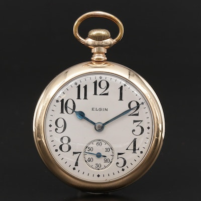1900 Elgin Railroad Grade Gold Filled Open Face Pocket Watch, Antique