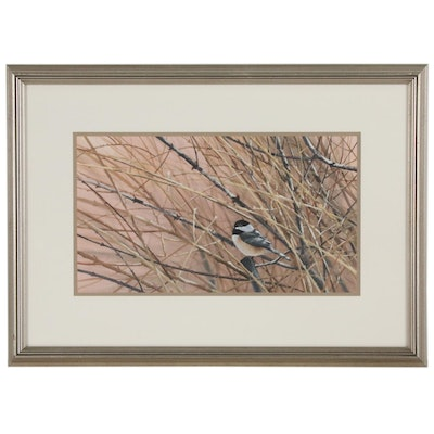 George Shumate Watercolor Painting of a Carolina Chickadee