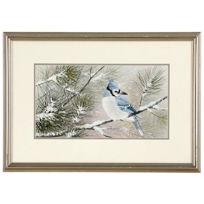 George Shumate Watercolor Painting of a Bluejay