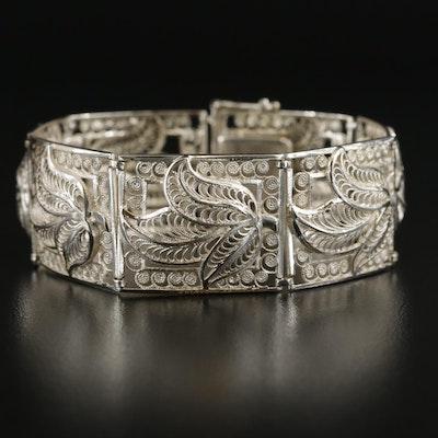 Sterling Silver Foliate Filigree Panel Bracelet