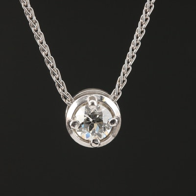 Platinum 0.67 CT Diamond Solitaire Pendant Necklace