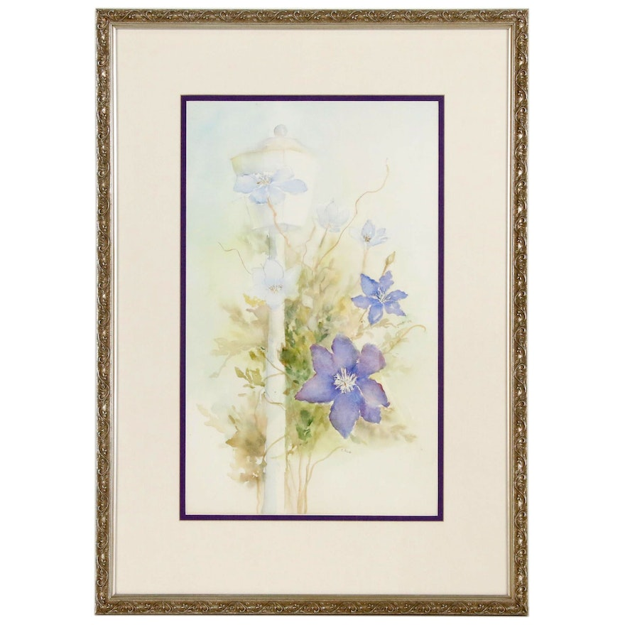 Watercolor Painting of Clematis Violas and a Light Post