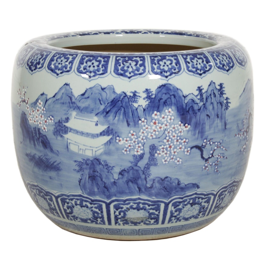 Chinese Hand-Painted Blue and White Porcelain Fishbowl Planter